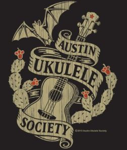 Two-color distressed Austin Ukulele Society logo shirt